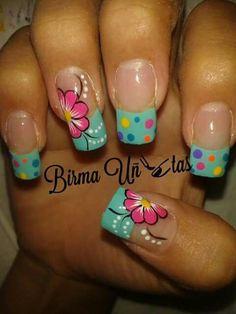 LOVE the flowers in these. Fabulous Nails, Gorgeous Nails, Pretty Nails, Cute Nail Art, Beautiful Nail Art, Spring Nails, Summer Nails, Nail Design Spring, Magic Nails