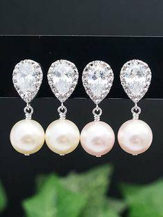 Pearl Jewelry Pearl Earrings Bridal Earrings Bridesmaid Earrings CZ Ear posts and Swarovski Pearls Dangle Earrings Wedding Bridal Jewelry Bridesmaid Earrings, Wedding Earrings, Bridesmaid Gifts, Bridesmaids, Pearl Jewelry, Wedding Jewelry, Jewelery, Swarovski Pearls, Bridal Accessories