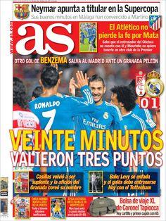 Los Titulares y Portadas de Noticias Destacadas Españolas del 27 de Agosto de 2013 del Diario Deportivo AS ¿Que le pareció esta Portada de este Diario Español?