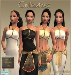 4 dresses in an egyptian-inspired style. Both formal or casual, now mesh or EP required! :) Enjoy!  Found in TSR Category 'Sims 2 Clothing Sets'