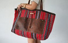Oversized Tribal Bag / Ethnic Bag/ Boho Leather by MudlandLeather