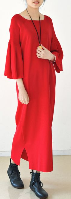 Trumpet sleeves red tunic dresses long red knit dress square neck plus size sweaters original design