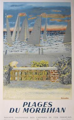 Vintage Travel Poster - France - Plages du Morbihan, by Brianchon  Lithograph in colours, 1950