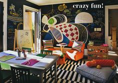 Crazy Fun room painted in chalkboard paint! Would love to use this in a playroom!