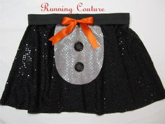Penguin inspired black and white Sparkle Running Misses Circle skirt with black sewn on buttons and orange bow by RunningCouture on Etsy https://www.etsy.com/listing/216029872/penguin-inspired-black-and-white-sparkle