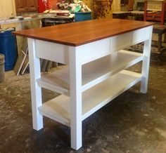 Handcrafted Kitchen Island Portable Kitchen Island, Small Kitchen Storage, Diy Kitchen Island, Kitchen Dinning, Kitchen Ideas, Building Furniture, Furniture Plans, Rustic Furniture, Refinished Furniture