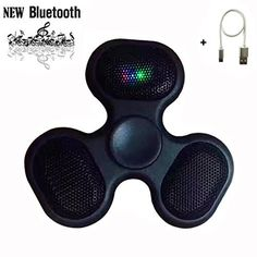 Easytk LED Light Switch MINI Bluetooth Speaker Music Fidget Spinner Toy Glow In The Dark EDC Hand Spinner Fidget With Dedicated USB Cable Black