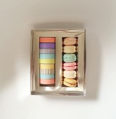 Box of macaroons and washi tape!