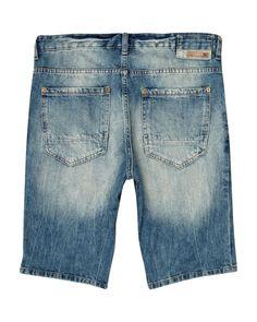 Mid blue wash wide leg denim shorts - shorts - sale - men | Jeans ...