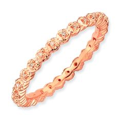 Sterling Silver Rose Goldplated Plated Stackable Eternity Diamond Accent Ring