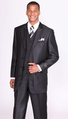 Mens Black Lapel 3 Piece Church Suits | MensITALY Price: US $149