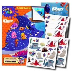 Disney Finding Dory Coloring Book with 120 Finding Dory Stickers  Bonus Under the Sea Stickers *** You can get more details by clicking on the image.