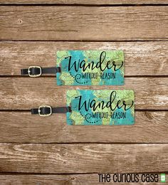 Luggage Tag Set Wander without reason Vintage by CuriousCaseGifts