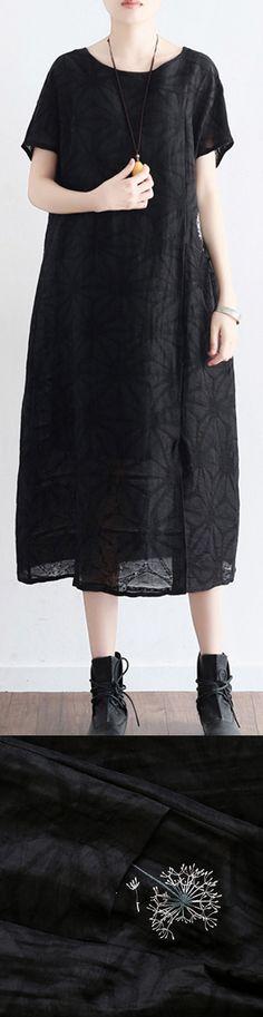 baggy black linen dresses casual embroidery cotton dress Fine short sleeve caftans5
