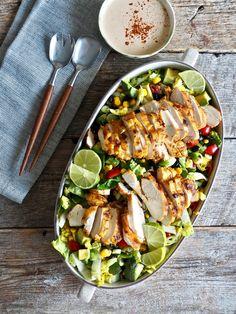 Tacosalat med kylling Cobb Salad, Nom Nom, Food And Drink, Red Peppers