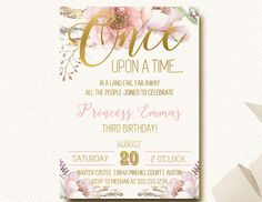 Once Upon A Time Invitation Fairytale Birthday Woodland Boho Chic by DesignOnPaper on Etsy https://www.etsy.com/listing/252186156/once-upon-a-time-invitation-fairytale