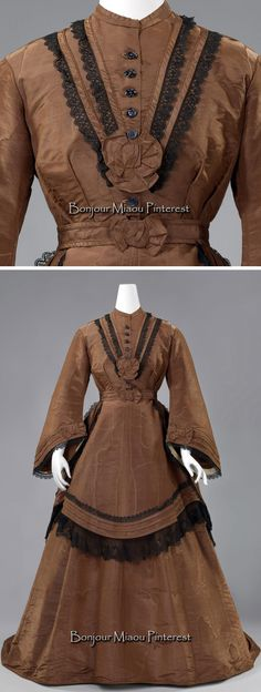 Day dress, the Netherlands, ca. 1868–72. Brown silk moiré and black lace, consisting of a jacket with pagoda sleeves, a skirt, a tunic, a belt, and a body with short sleeves. Bodice lined with brown glazed cotton. Rijksmuseum