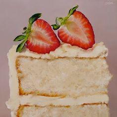 Vanilla Cake with Strawberries, painting by artist Oriana Kacicek