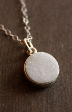 Silver White Druzy Necklace - Bright White - Simple Geode Necklace. $39.00, via Etsy.