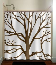 brown tree branches shower curtain bathroom by TablishedWorks, $67.00 for the bathroom in the house.