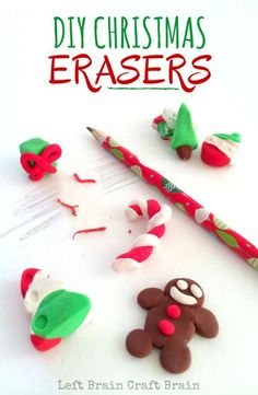 Mold your own Christmas Erasers with this easy craft activity.  Gingerbread people, candy canes, trees and more are fun for kids to make and use.: Mold your own Christmas Erasers with this easy craft activity.  Gingerbread people, candy canes, trees and more are fun for kids to make and use.