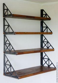 Welded Furniture, Industrial Design Furniture, Iron Furniture, Steel Furniture, Rustic Furniture, Furniture Design, Wood Wall Shelf, Wall Shelves Design, Metal Projects