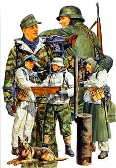 German infantry receives instructions, next to a simplified version of the field kitchen