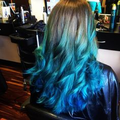 Brown to teal green and teal blue ombre hair color idea, incredible effects of mermaid hairstyle~ nice turquoise hair color