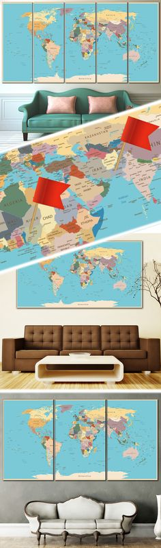 Creative world map canvas prints wall art for large home or office push pin world map 807 canvas print zellart canvas arts gumiabroncs Gallery
