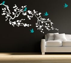 Cherry Blossom Branch Vinyl Wall Decal Size 80 W by 40 H PLUS FREE 12 BLACK NAME DECAL Branch Decals Cherry Branch Decals Bird Decals Branch Stickers Branch Wall Decals Wall Decor Wall Cling * Click image for more details.