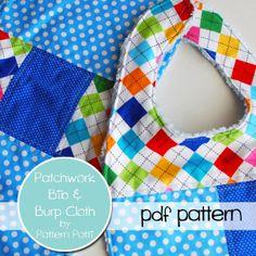 Download Patchwork Bib & Burpcloth pattern Sewing Pattern | Featured Downloadable Sewing Patterns | YouCanMakeThis.com