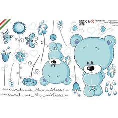 Maci virágokkal, türkizkék baba falmatrica, medvebocs