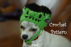 Crochet Pattern Dog Frankenstein Hat by poshpoochdesigns on Etsy, $3.99