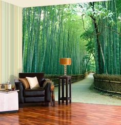 A modern interior design trend - photo wallpaper mural. Lovely tree design.