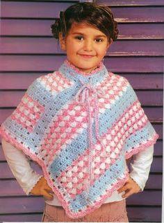 Crochê Tricô - Gráficos: Gráficos/Receitas - Crochê: Poncho Infantil