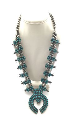 Squash Blossom Necklaces - Navajo Turquoise and Silver Squash Blossom Necklace
