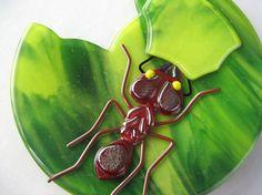 Leaf Cutter Ant Fused Glass Plate by trilobiteglassworks on Etsy, $75.00