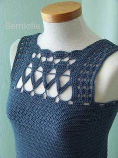 Denim blue lace cotton crochet top tank B191 por Berniolie en Etsy