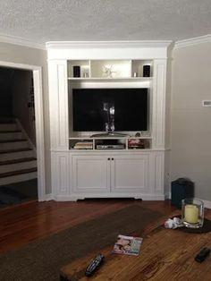 Ideas for living room tv wall corner tv units Tv Mount With Shelf, Corner Tv Mount, Tv In Corner, Kitchen Corner Units, Corner Tv Cabinets, Large Corner Tv Unit, Ikea Kitchen, Tv Built In, Built Ins