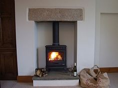 Stone lintel Cosy Fireplace, Stove Fireplace, Fireplace Ideas, Julia's House, Alcove Cupboards, Log Burner, Front Rooms, Victorian Homes, Victorian Terrace