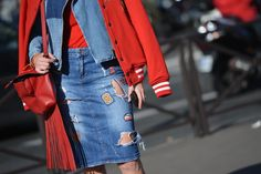 denim on denim and red #PFW