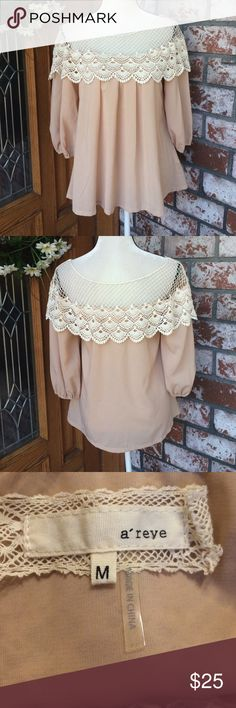 Adorable embroidered smock top Embroidered smock top has 3/4 sleeves A'reve Tops Tunics