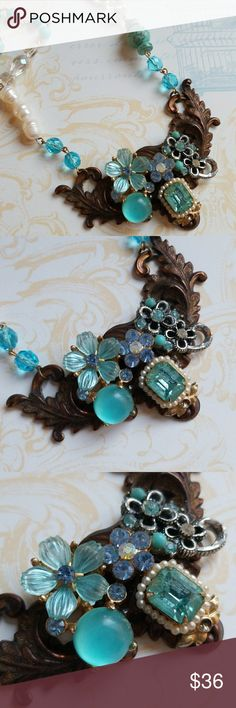 Handmade Vintage jewelry collage necklace Handmade  One of a kind  Excellent vintage condition  Toggle closure  Freshwater pearls and natural turquoise Crystal accents Handmade Jewelry Necklaces