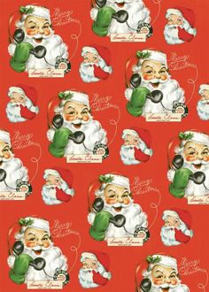 This Hello Santa Christmas Wrapping Paper is wonderful ephemera for crafts, decoupage, gift wrap, framing, mod podge and more. Made of high quality Italian paper stock. By Cavallini. x inches. Christmas Poster, Retro Christmas, Santa Christmas, Christmas Gifts, Christmas Ideas, Christmas Decorations, Holiday Ornaments, Christmas 2019, White Christmas