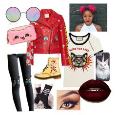 """""""Catty and Cute"""" by boqueefqueef ❤ liked on Polyvore featuring Gucci, Little Flower, Mira Mikati, Dr. Martens, Sunday Somewhere, Killstar and Anya Hindmarch"""
