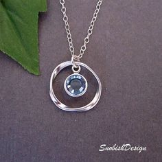 Circle Necklace - Aquamarine Jewelry - $27.00, via Etsy
