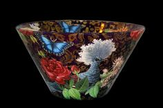 "Decoupage on glass bowl (10 1/2"") by Valerie Keane - www.valeriekeane.com."