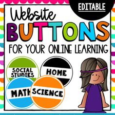 Class Buttons/Icons - Customize Your Digital Class - Distance Learning Online Classroom, Classroom Themes, Google Classroom, Canvas Learning Management System, Teacher Canvas, Virtual Class, Canvas Online, Kindergarten Activities, Learning Resources
