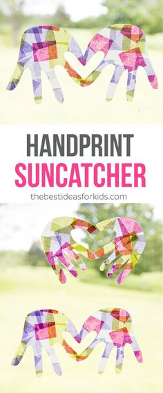 Make these beautiful handprint suncatchers kids craft. These are great for kids to make and give as a gift to mom and day. Perfect for preschoolers and kindergarten! via (Diy Projects For Kids) Craft Activities For Kids, Preschool Crafts, Toddler Activities, Projects For Kids, Kids Crafts, Craft Ideas, Creative Crafts, Adult Crafts, Art Projects