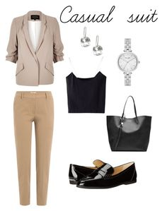 """""""Casual suit style"""" by victoria-belogurova on Polyvore featuring Brunello Cucinelli, River Island, Alexander McQueen, MICHAEL Michael Kors and Kate Spade"""